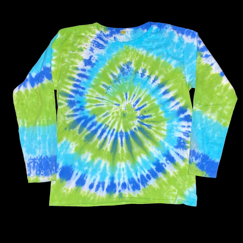 Long Sleeve Tie Dye Crew M Blue Teal Spiral