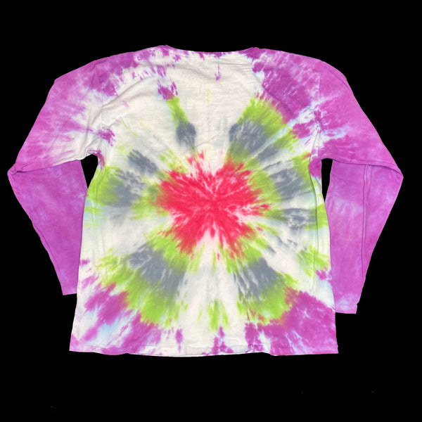 Long Sleeve Tie Dye Crew L Green Burst