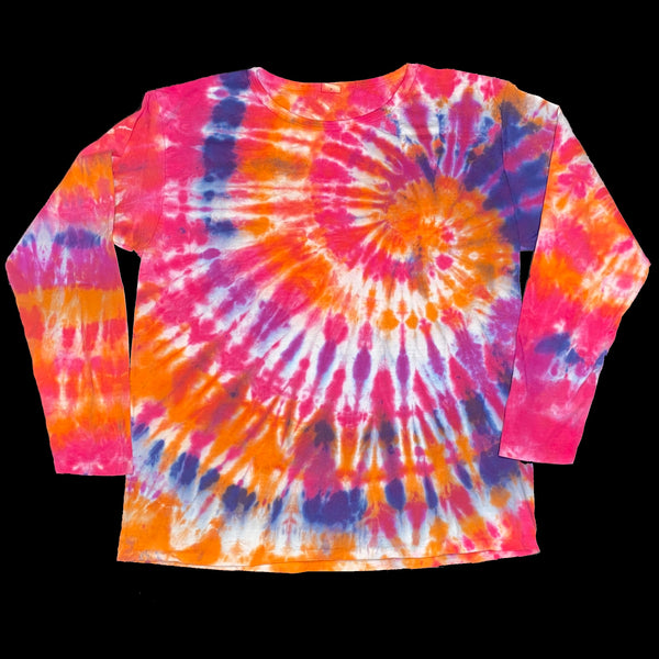 Long Sleeve Tie Dye L Orange Spiral