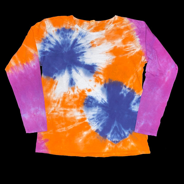 Long Sleeve Tie Dye Crew M Orange Navy Burst