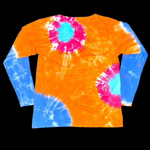 Long Sleeve Tie Dye Crew S Red Orange Bursts