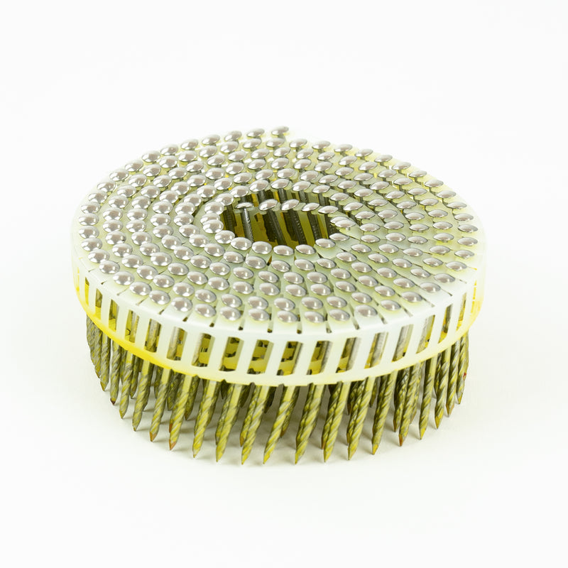 15° PLASTIC COLLATED DECKING COIL NAILS - DOME HEAD