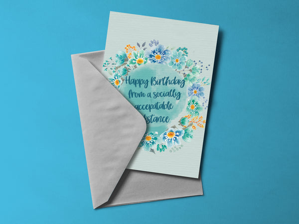 Floral Social Distancing Birthday Card