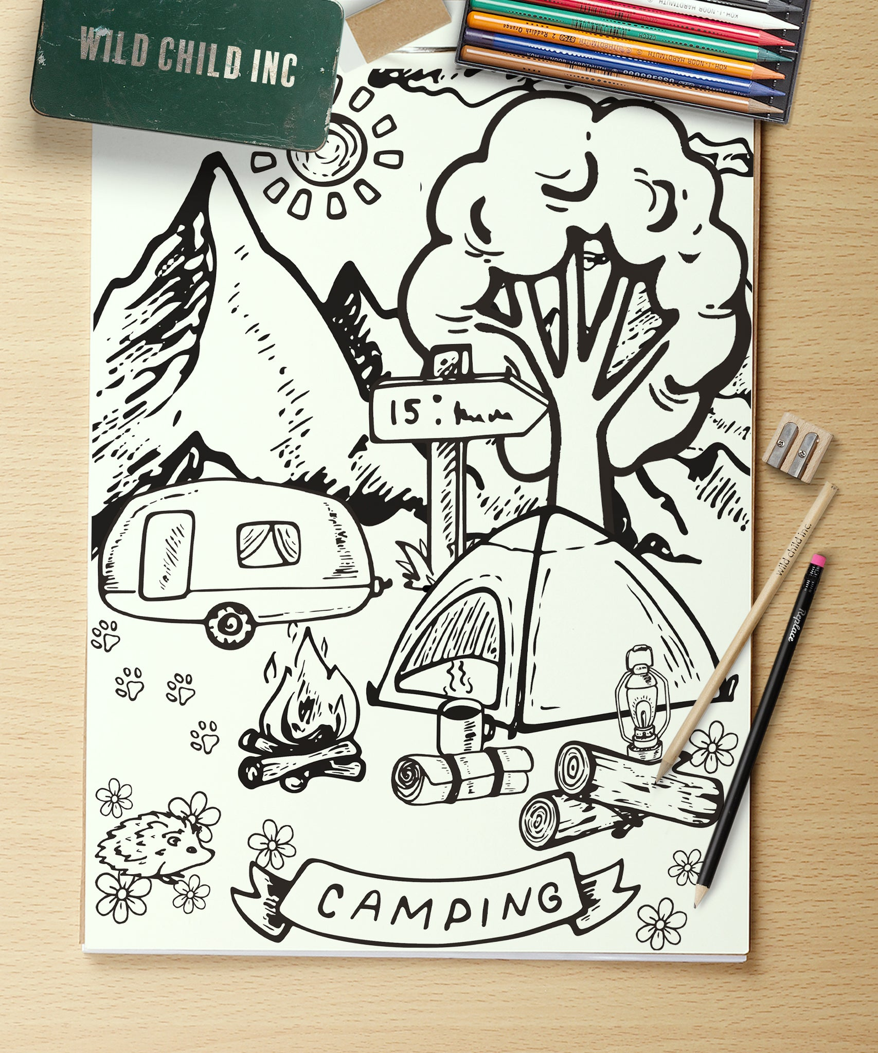 Gone Camping A4 Colouring In Sheet