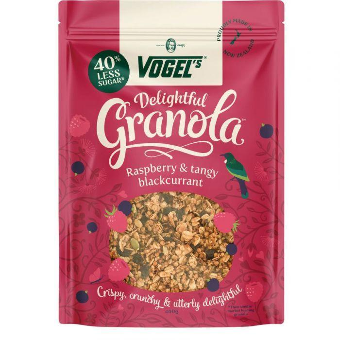 VOGELS DELIGHTFUL GRANOLA RASPBERRY AND TANGY BLACKCURRANT 400G