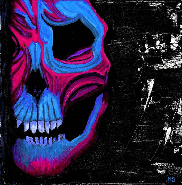 Blue and Pink Skull - Original Abstract Painting - Abstract Expressions Art
