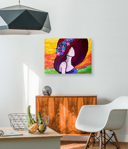 Woman in Hat - Original Abstract Painting - Abstract Expressions Art