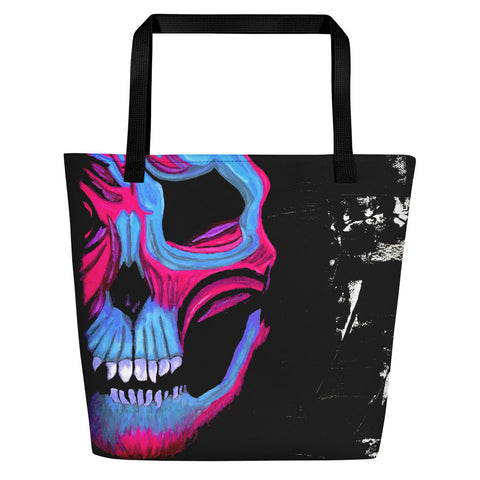 Blue and Pink Skull Beach Bag - Abstract Expressions Art
