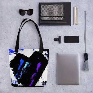 Blue and Purple Heart Tote Bag - Abstract Expressions Art