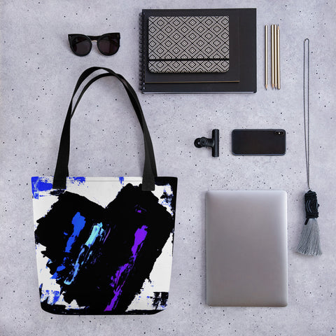 Blue and Purple Heart Tote Bag - AbstractExpressions63
