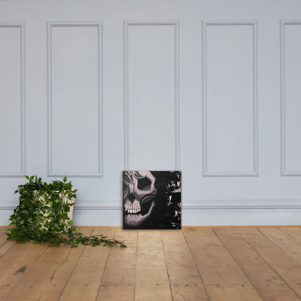 Black and White Skull Canvas Print - Abstract Expressions Art