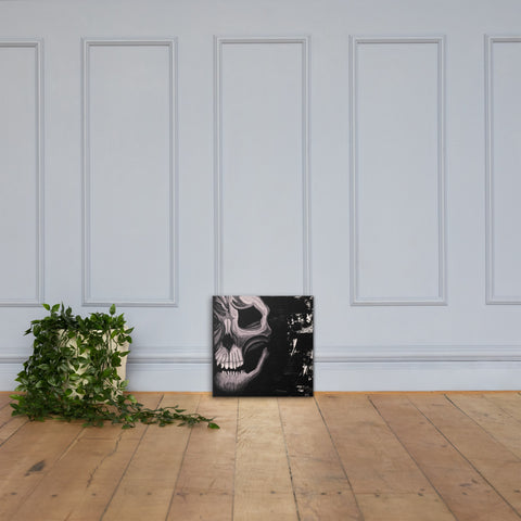 Black and White Skull Canvas Print - AbstractExpressions63