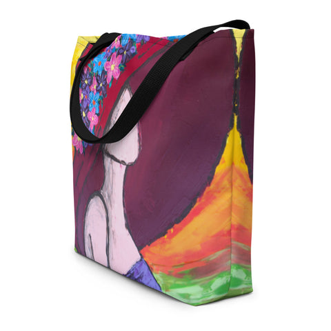 Woman in Hat Beach Bag - Abstract Expressions Art