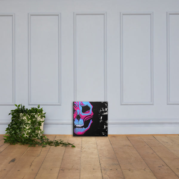 Blue and Pink Skull Canvas Print - Abstract Expressions Art