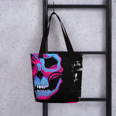 Blue and Pink Skull Tote Bag - Abstract Expressions Art