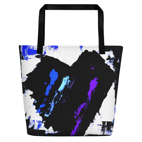 Blue and Purple Heart Beach Bag - Abstract Expressions Art