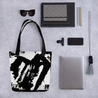 Black and White Heart Tote Bag - AbstractExpressions63