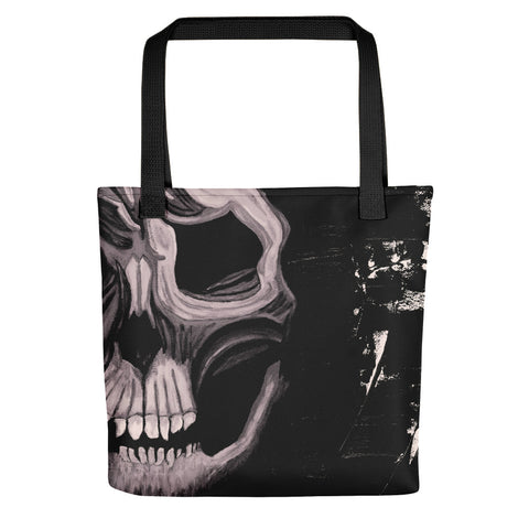 Black and White Skull Tote Bag - Abstract Expressions Art