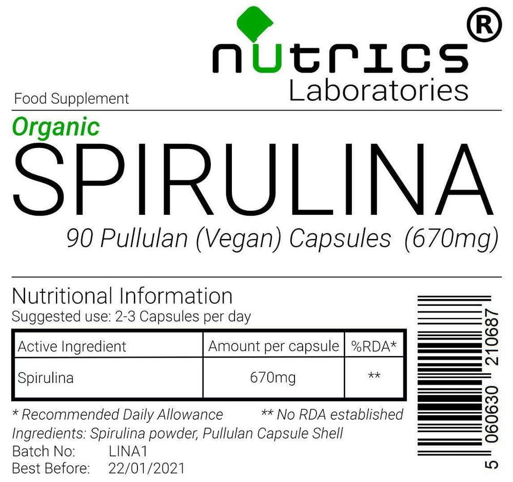 Load image into Gallery viewer, Organic Spirulina - 90 Capsules - Almamea