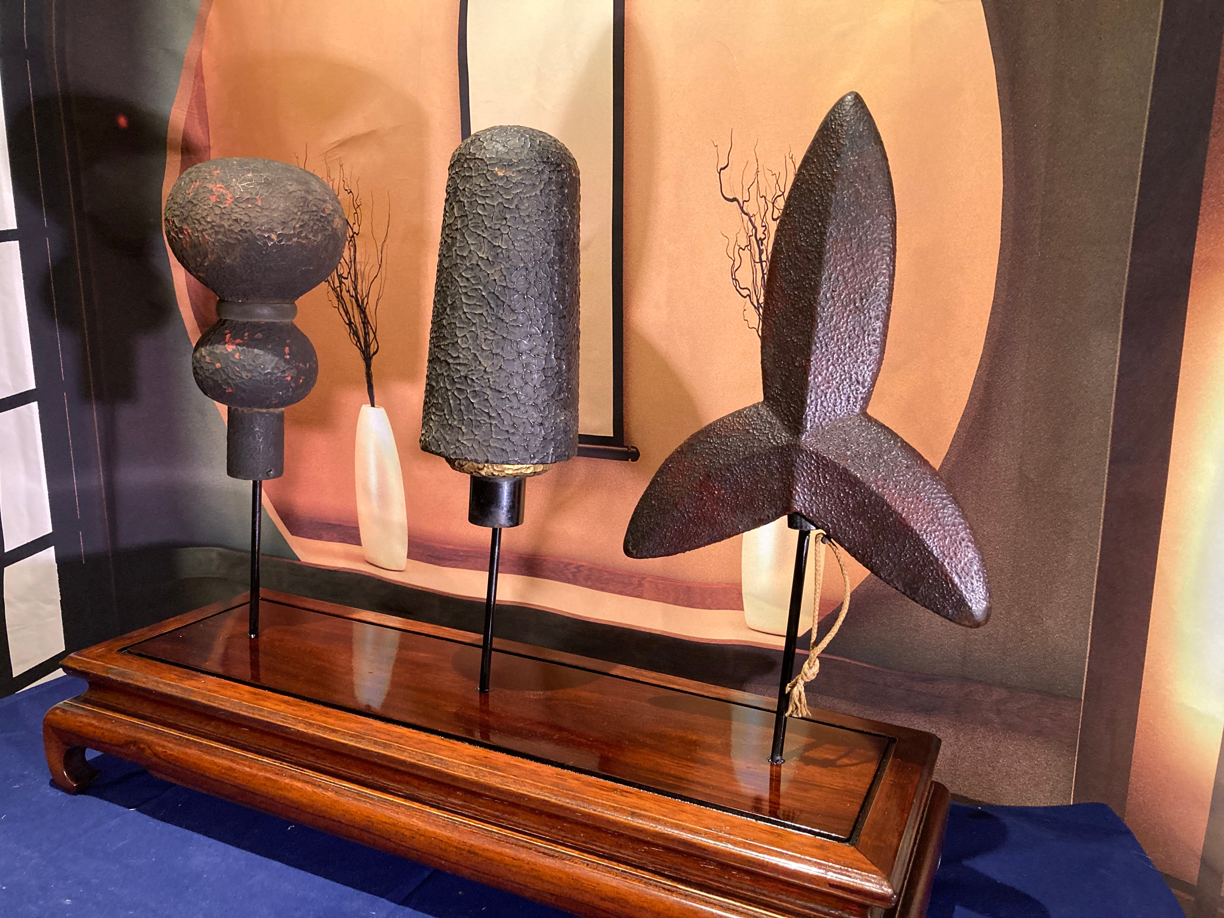 Yari Saya Display. Antique Japanese spear covers - Yamazakura