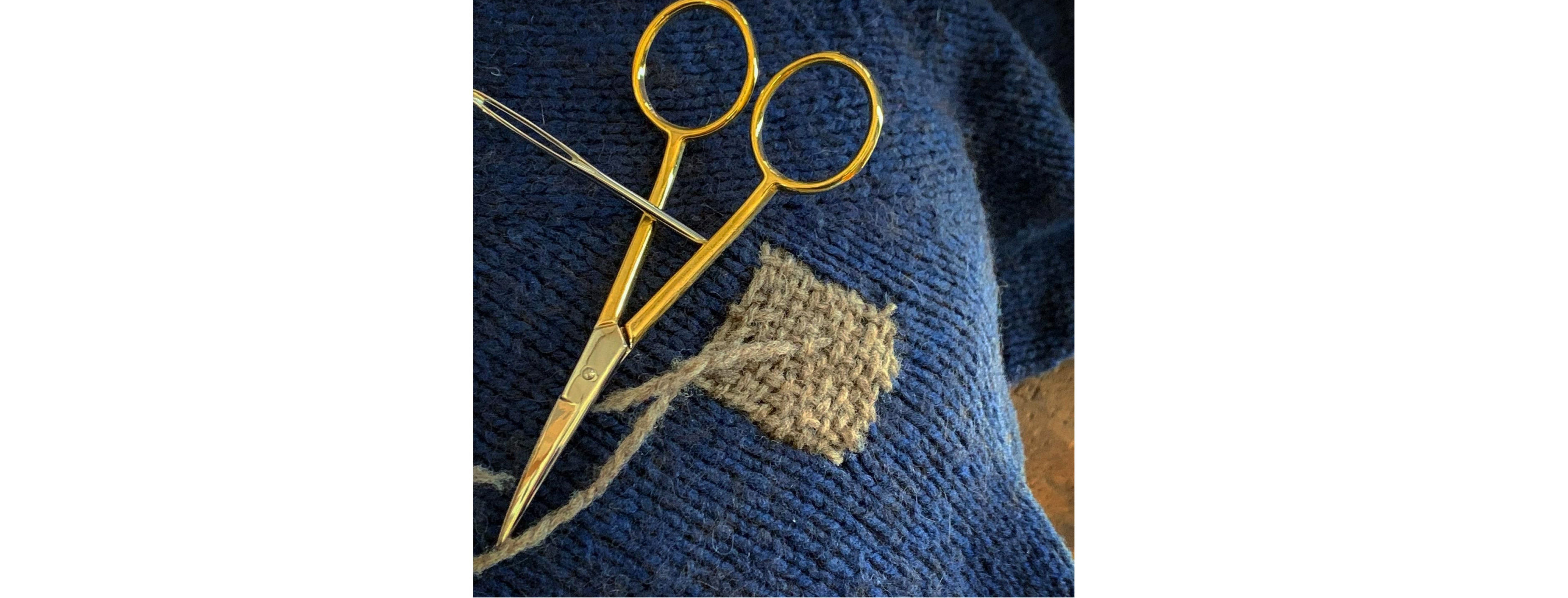 Before finishing, push the needle in the threads toward the already woven patch