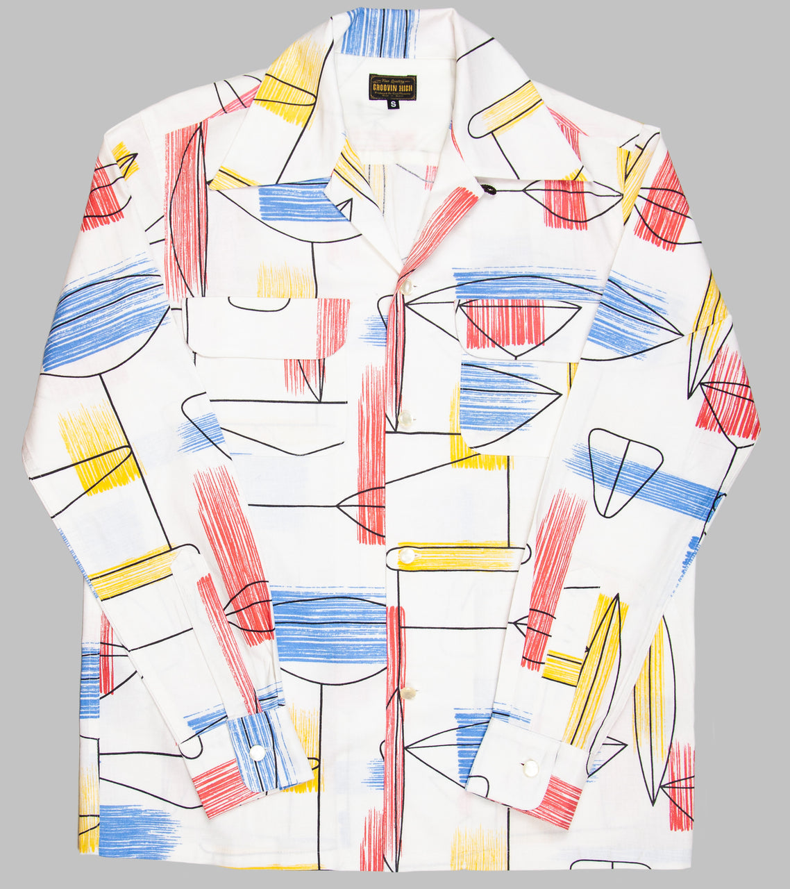 Groovin High Open Collar Shirt Atomic Box White