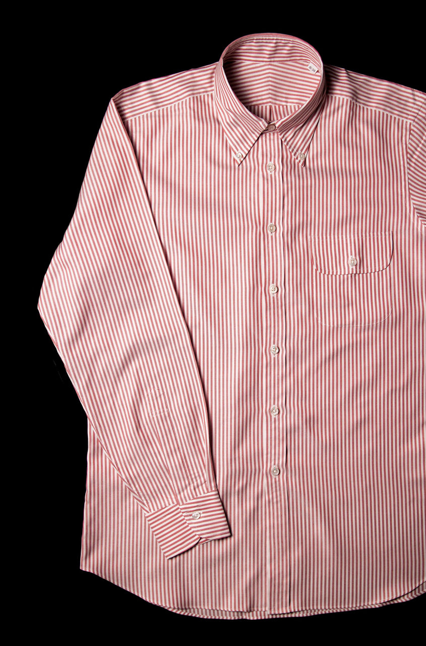 Bryceland's Oxford Button Down Striped Shirt Brick