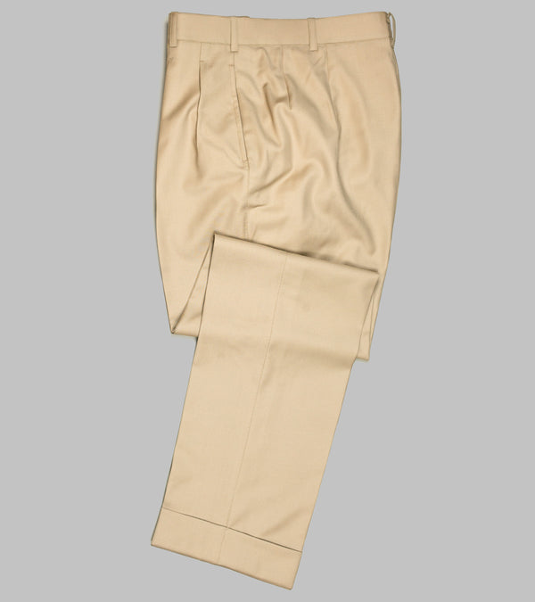 Bryceland's Wool Gabardine Winston Trousers Made-to-Order Beige