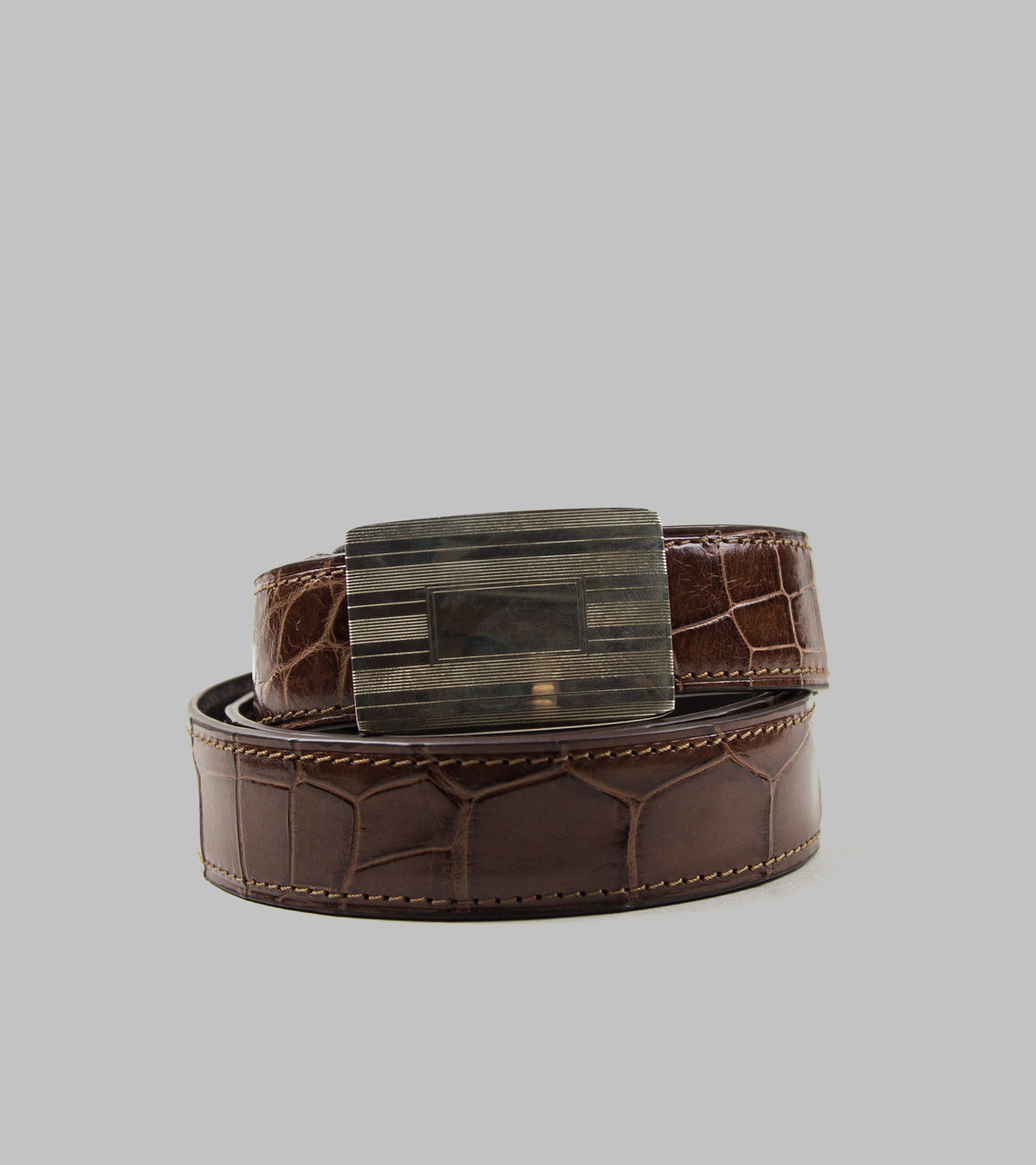Bryceland's One-Piece Alligator Belt Brown