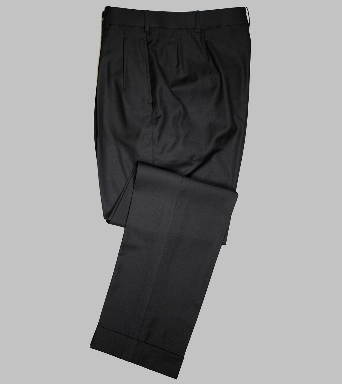 Bryceland's Wool Gabardine Winston Trousers Made-to-Order Black