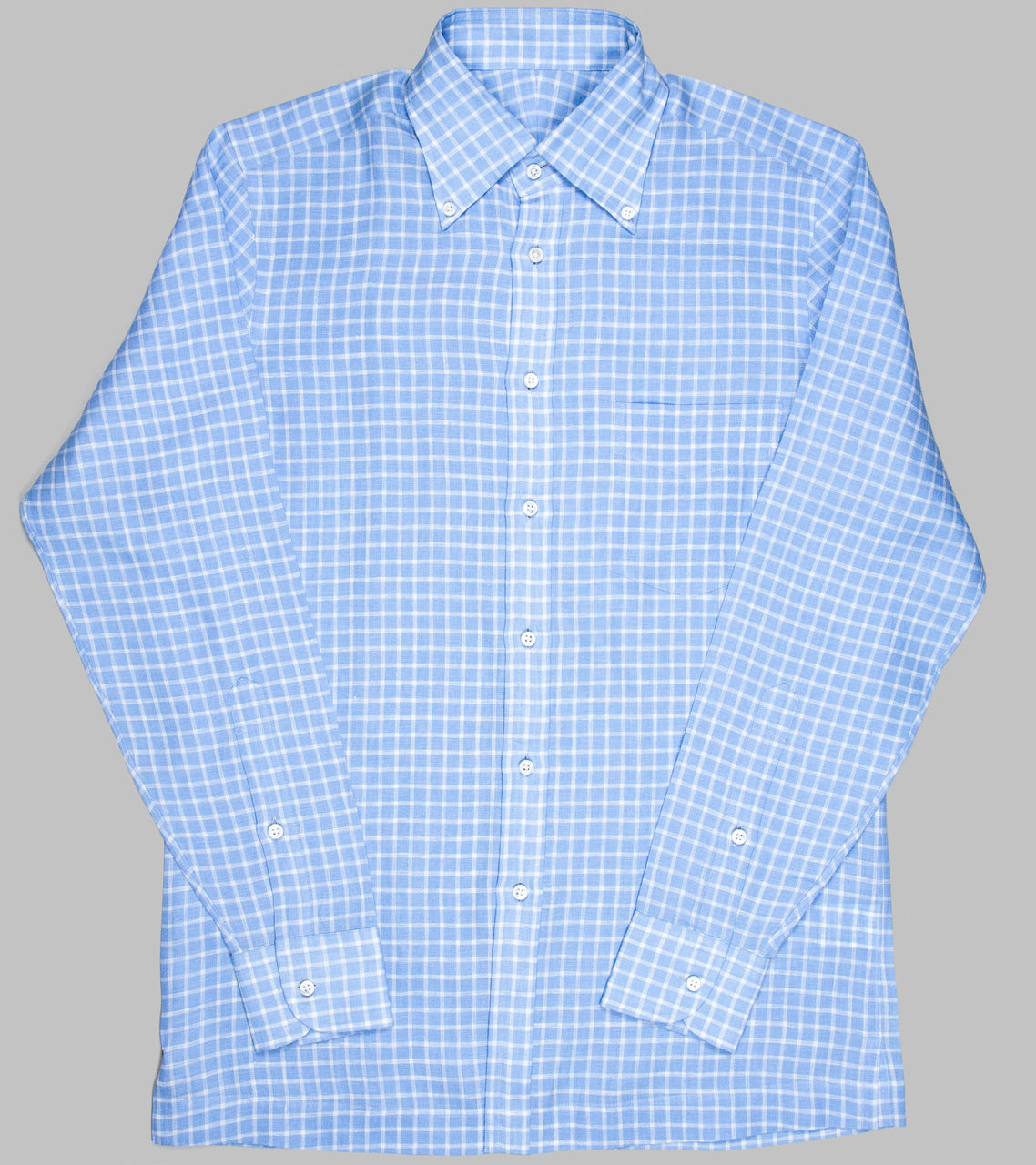 Bryceland's Linen Button Down Checked Shirt Blue