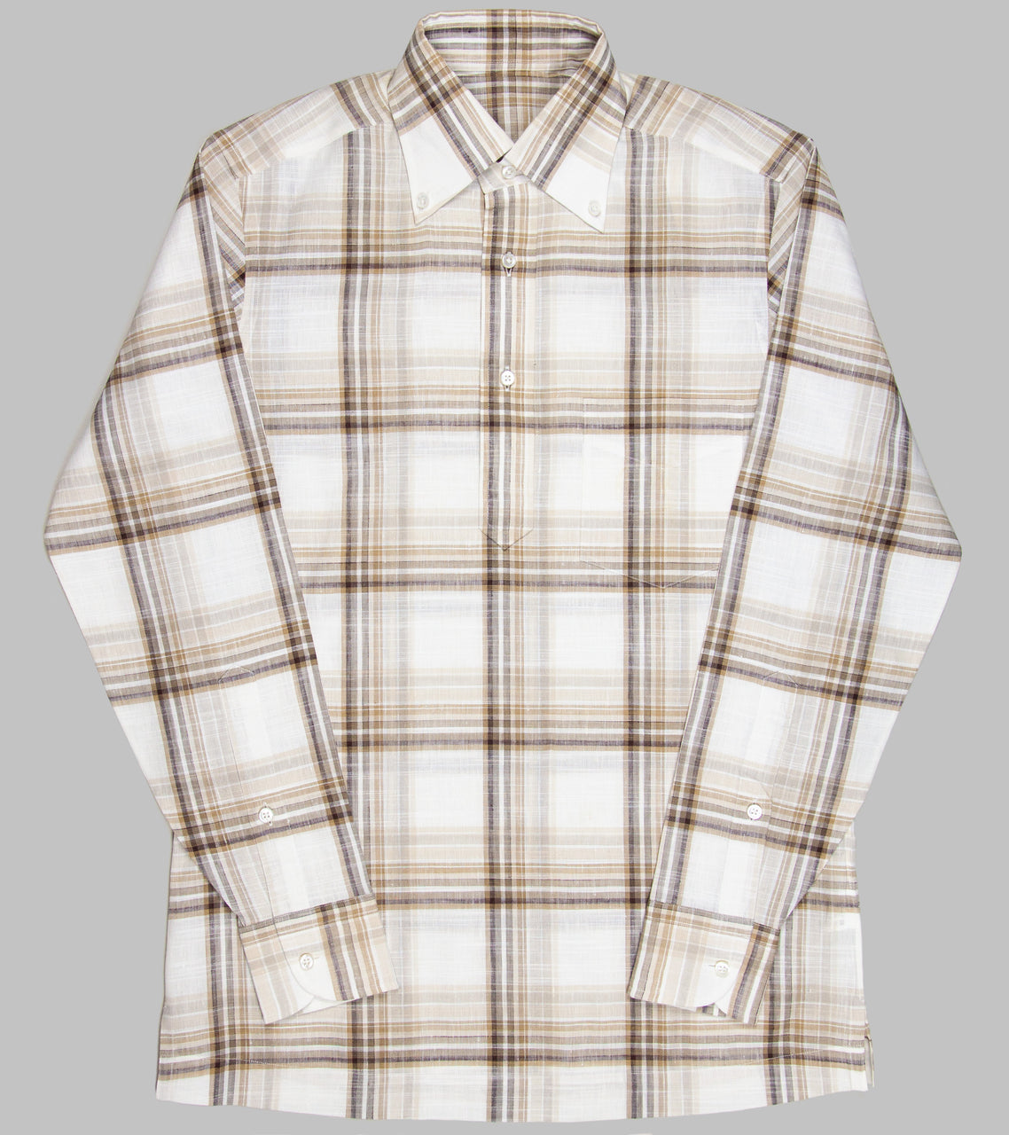 Bryceland's Linen Button Down Paid Shirt Brown