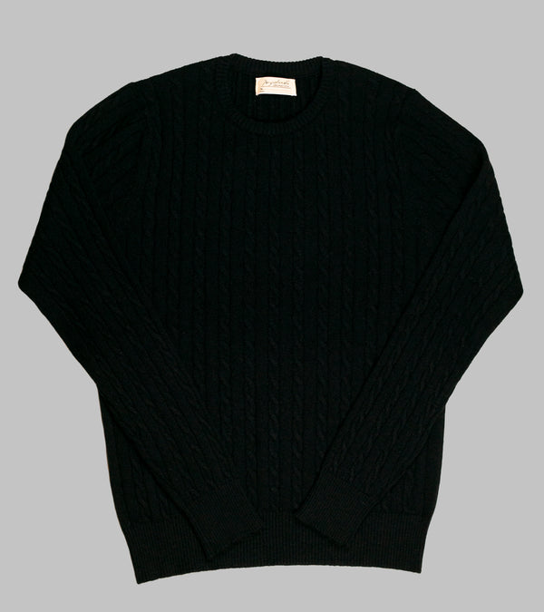 Bryceland's Cable-Knit Crewneck Pullover Black