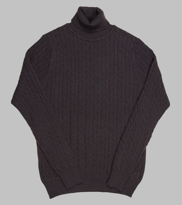 Bryceland's Cable-Knit Rollneck Pullover Dark Brown