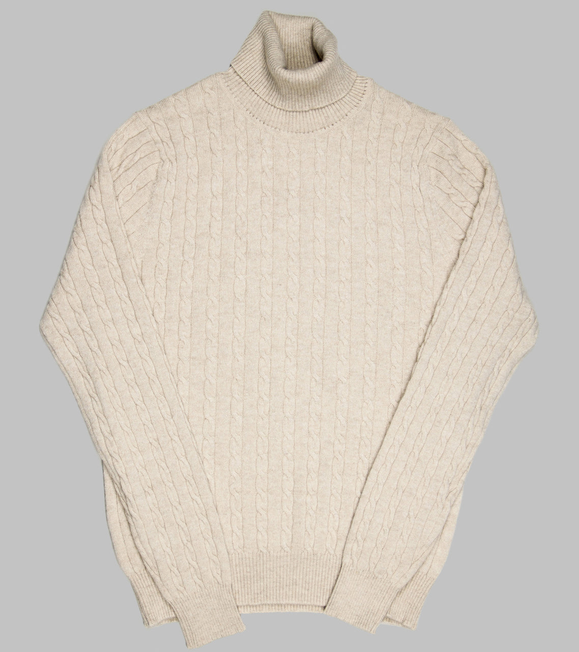 Bryceland's Cable-Knit Rollneck Pullover Beige