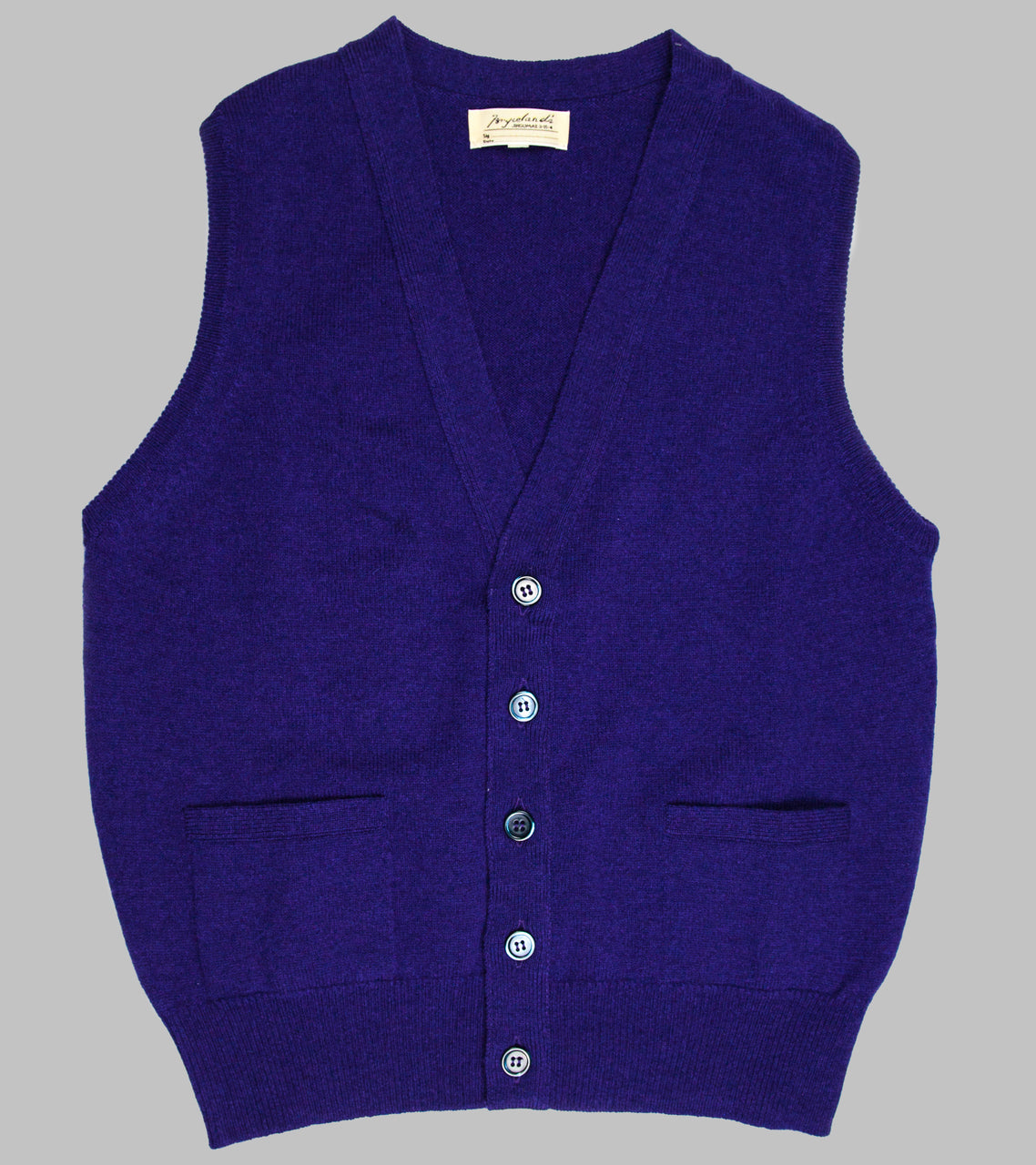 Bryceland's Lambswool Sleeveless Cardigan Purple