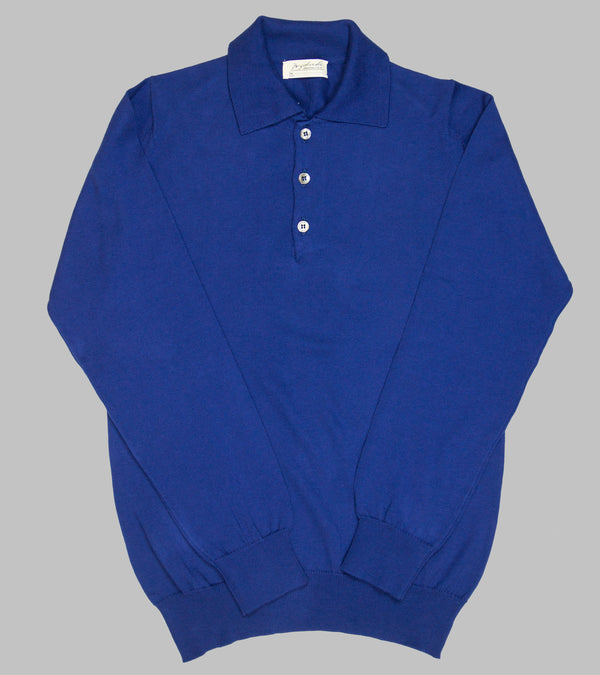 Bryceland's Cotton Long Sleeve Polo Blue