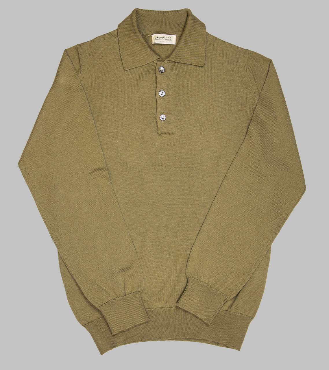 Bryceland's Cotton Long Sleeve Polo Army Green
