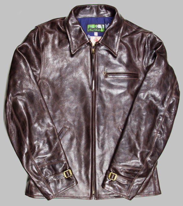 Bryceland's x Himel Brothers Goatskin Leather Jacket Brown (Blue Diamond Lining)