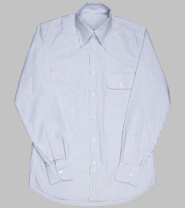 Bryceland's Oxford Button Down Striped Shirt Blue