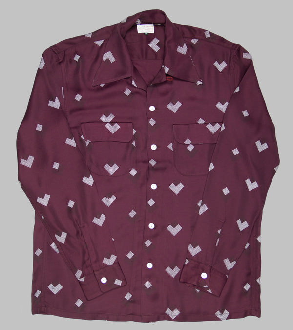 Bryceland's Rayon Shirt Diamond Burgundy