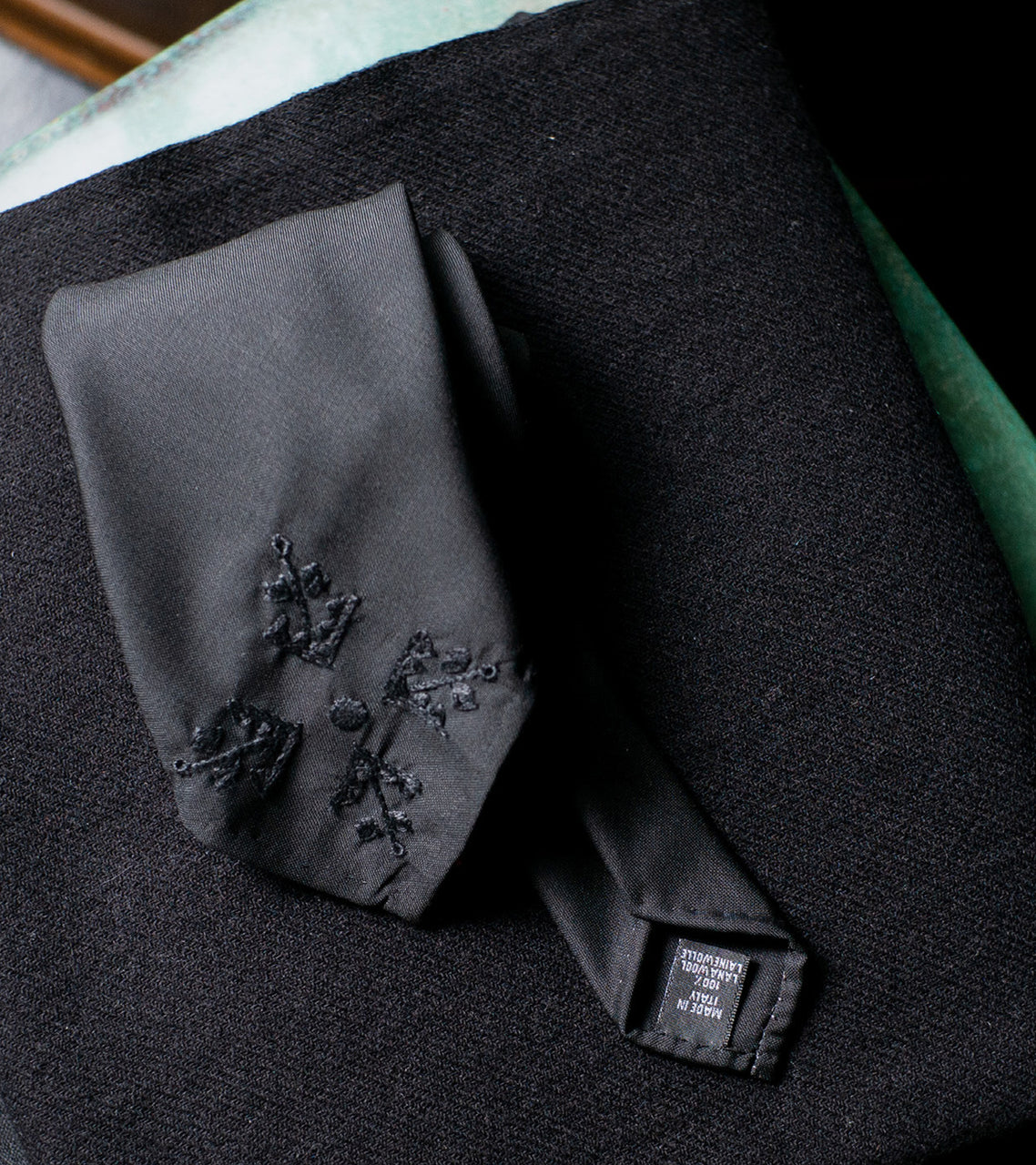 Bryceland's Embroidery Wool Tie Black