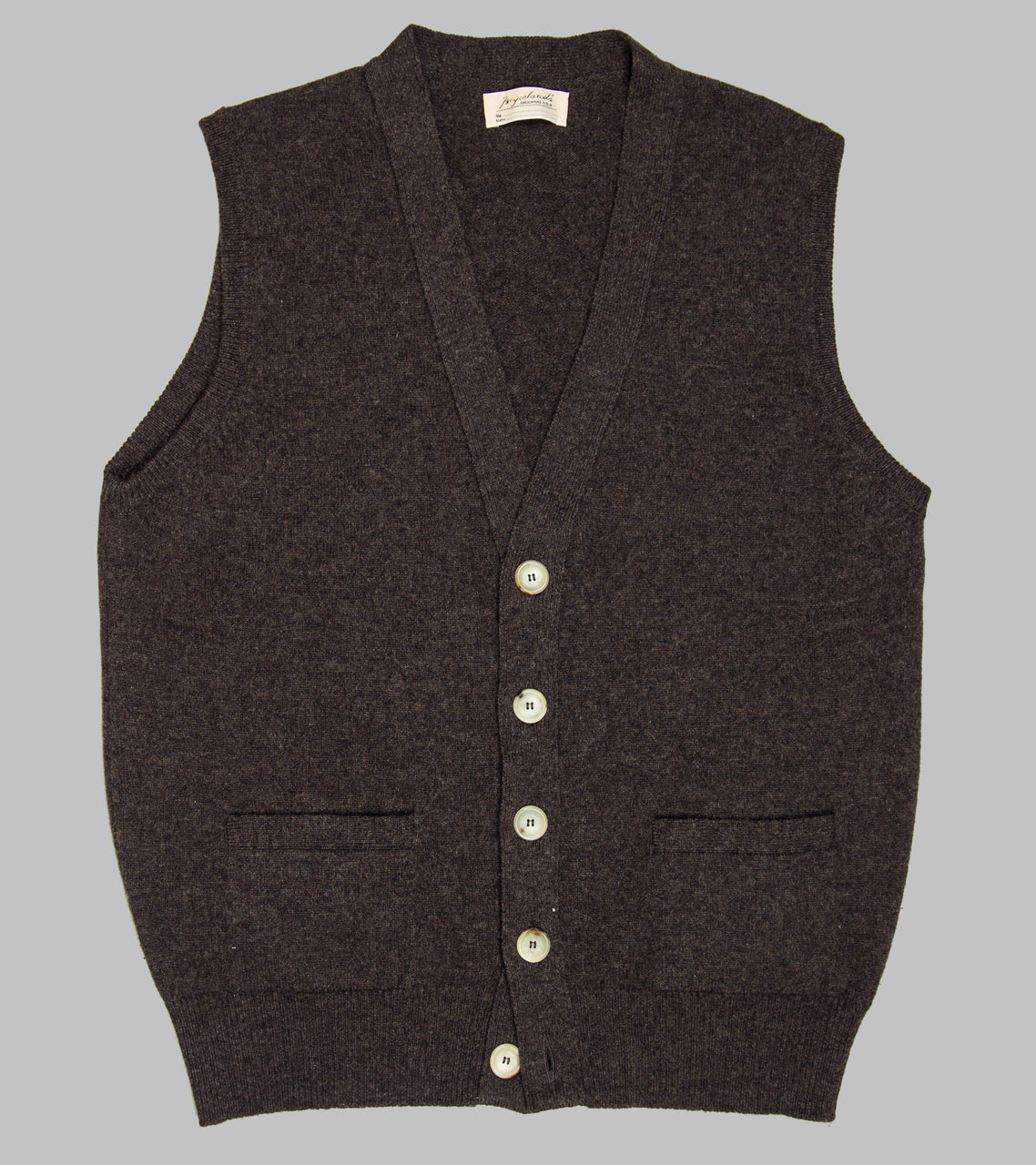 Bryceland's Lambswool Sleeveless Cardigan Cocoa