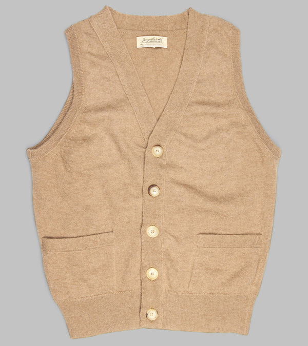 Bryceland's Camelhair Sleeveless Cardigan Natural