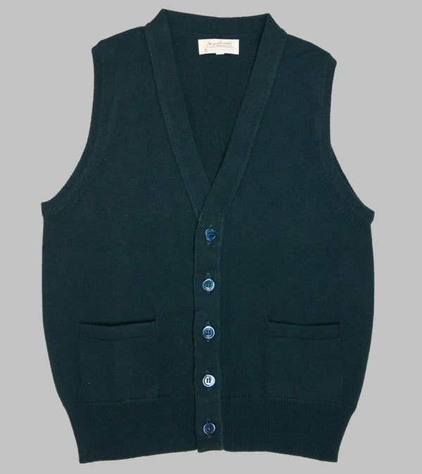 Bryceland's Lambswool Sleeveless Cardigan Dark Green