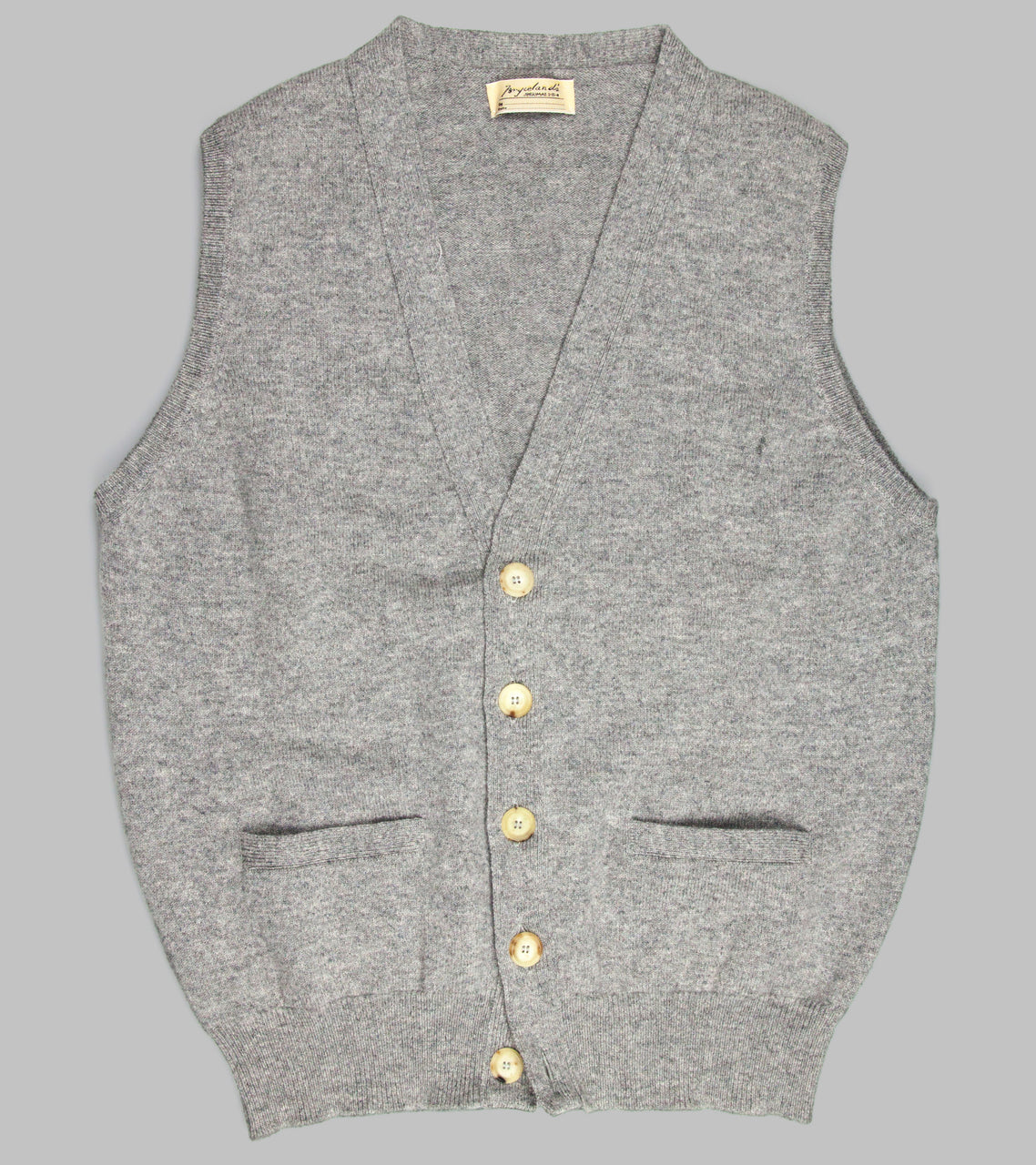 Bryceland's Lambswool Sleeveless Cardigan Grey