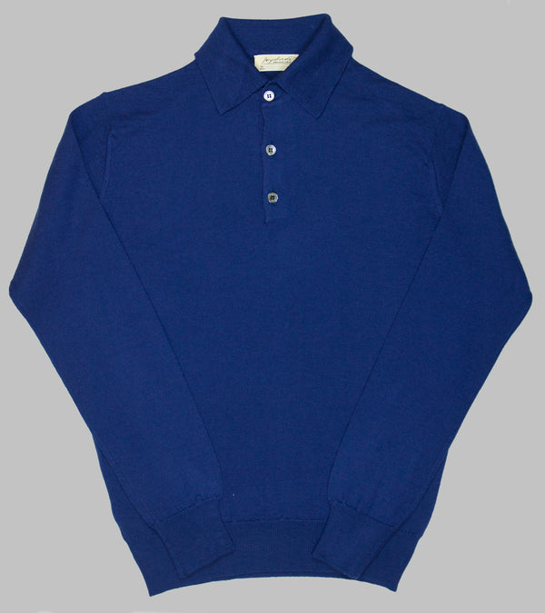 Bryceland's Merino Long-Sleeve Polo Blue