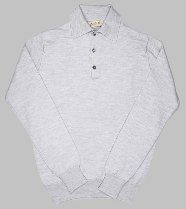 Bryceland's Merino Long-Sleeve Polo Argent