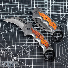 Load image into Gallery viewer, BOGO OFFER: Buy One Get One! FX FA42 Karambit Titanium Coated Blade Wood + Steel Handle Claw Knife