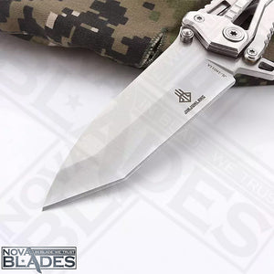 JL16011 Mechanical Lock Folding Knife with Sheath (Silver)